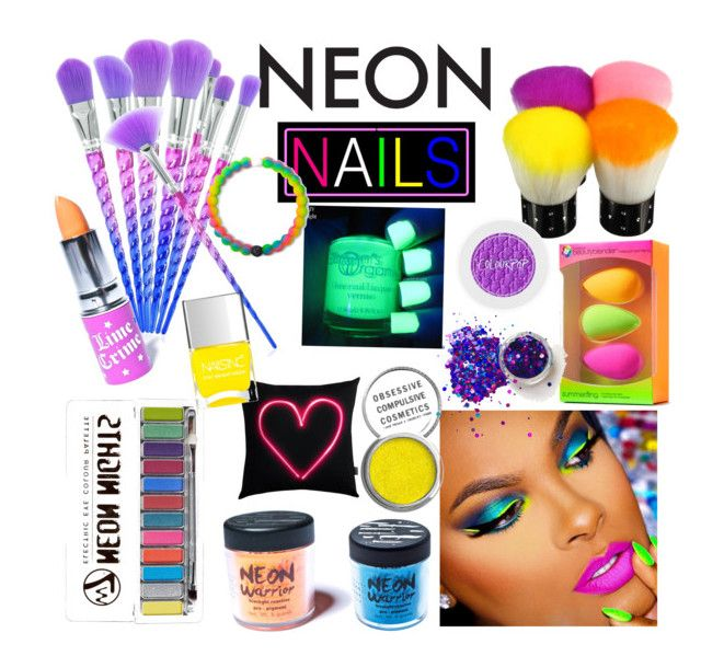 """""""Neon"""" by switchkid ❤ liked on Polyvore featuring beauty, beautyblender, Medusa's Makeup, Obsessive Compulsive Cosmetics, Nails Inc., Lokai and Lime Crime"""