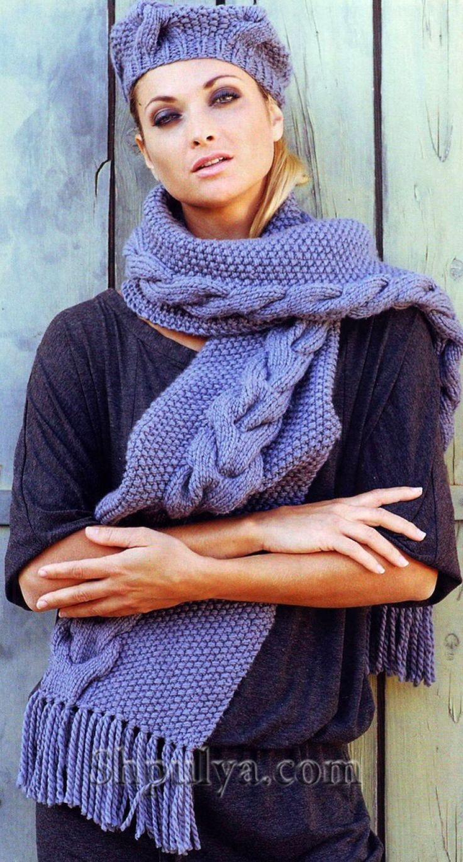 Синяя шапка и шарф с узором «косы», вязаные спицами