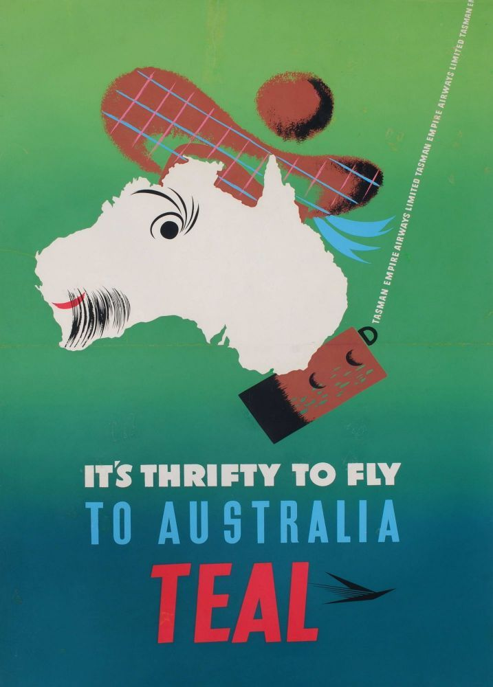 It S Thrifty To Fly To Australia Teal On Vintage Airline Posters Vintage Travel Posters Fly To Australia