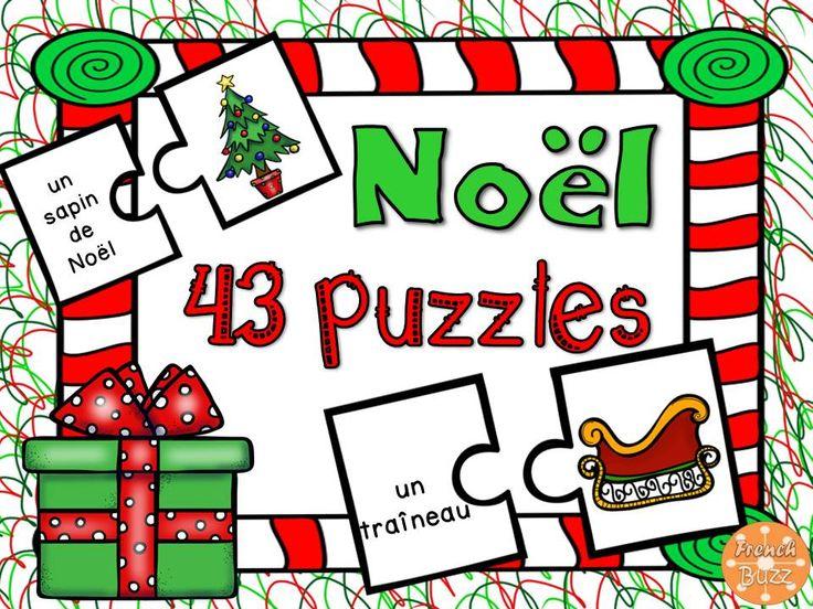 Noël - 43 puzzles ou casse-tête pour pratiquer le vocabulaire de Noël.