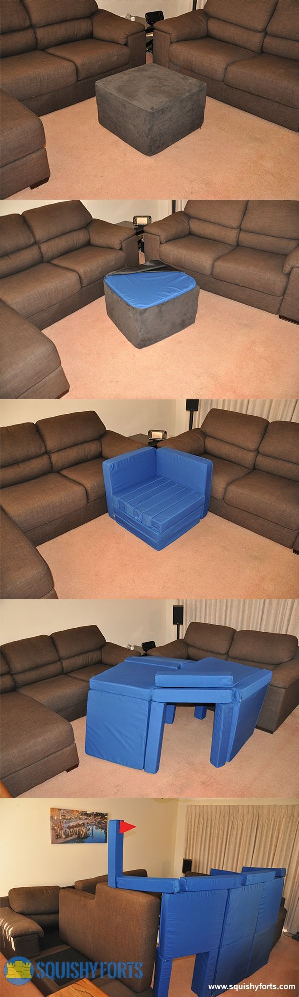 A foot stool that is actually a Pillow Fort Construction kit! Haha.. What! Genius!