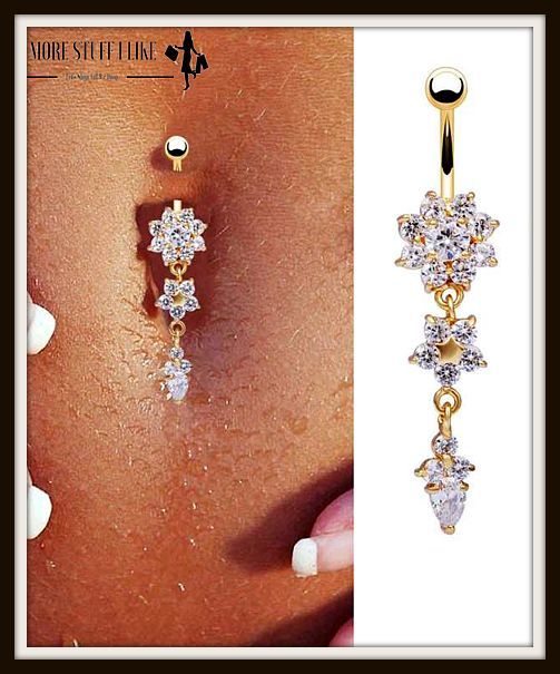 "Beautiful Crystal Flower Dangle Gold Navel Belly Button Ring "" FREE SHIPPING """