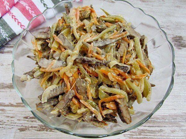 Салат печень говяжья горошек