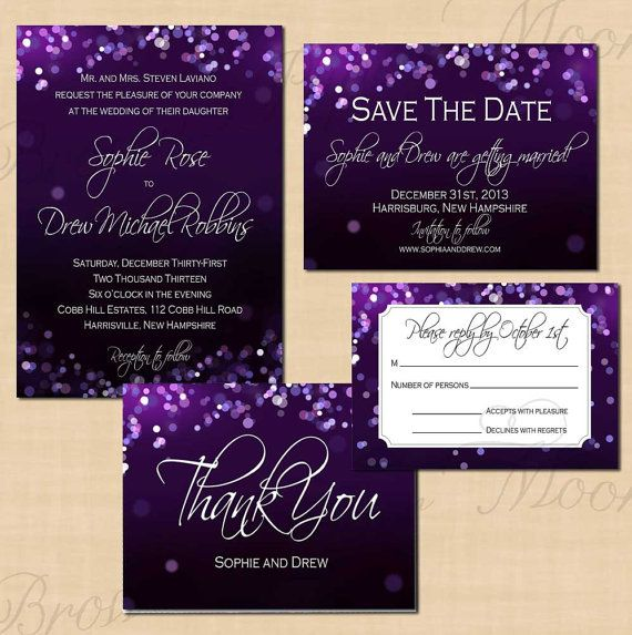 Purple Night Sky Save the Date, Invitation, RSVP, and Thank You Card Package…