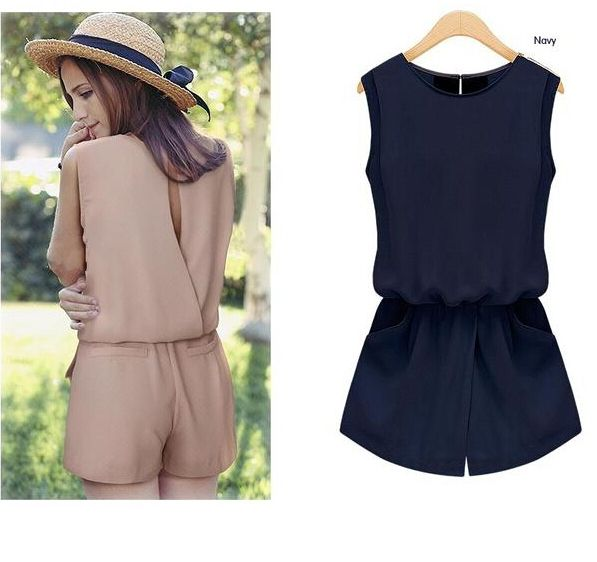 Add Size S Macacao feminino Summer 2017 Chiffon Jumpsuit Women Back Hollow Out Playsuit Overalls Rompers With Pockets S5455