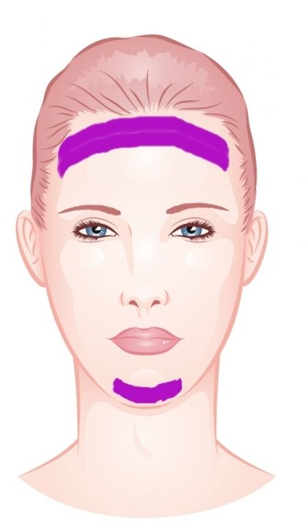Langes Gesicht verkürzen: dunklere Foundation entlang Haaransatz und Kinn auftragen; Wangenknochen betonen lenkt zusätzlich ab