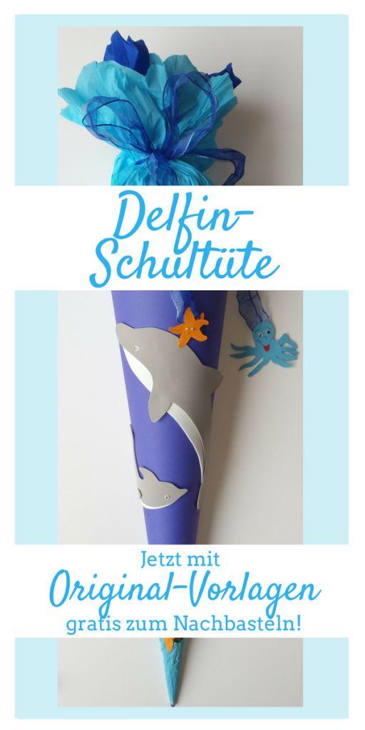 Delfin - Schultüte basteln! Ausführliche Anleitung mit pdf-Vorlagen zum Ausdrucken! http://ersteklasse.org/schultuete/delfin-schultuete-basteln/ Außerdem viele Ideen und Tipps zur Einschulung!
