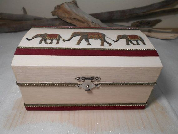 Handmade wooden box Decoupage box Organization box by Zozelarium