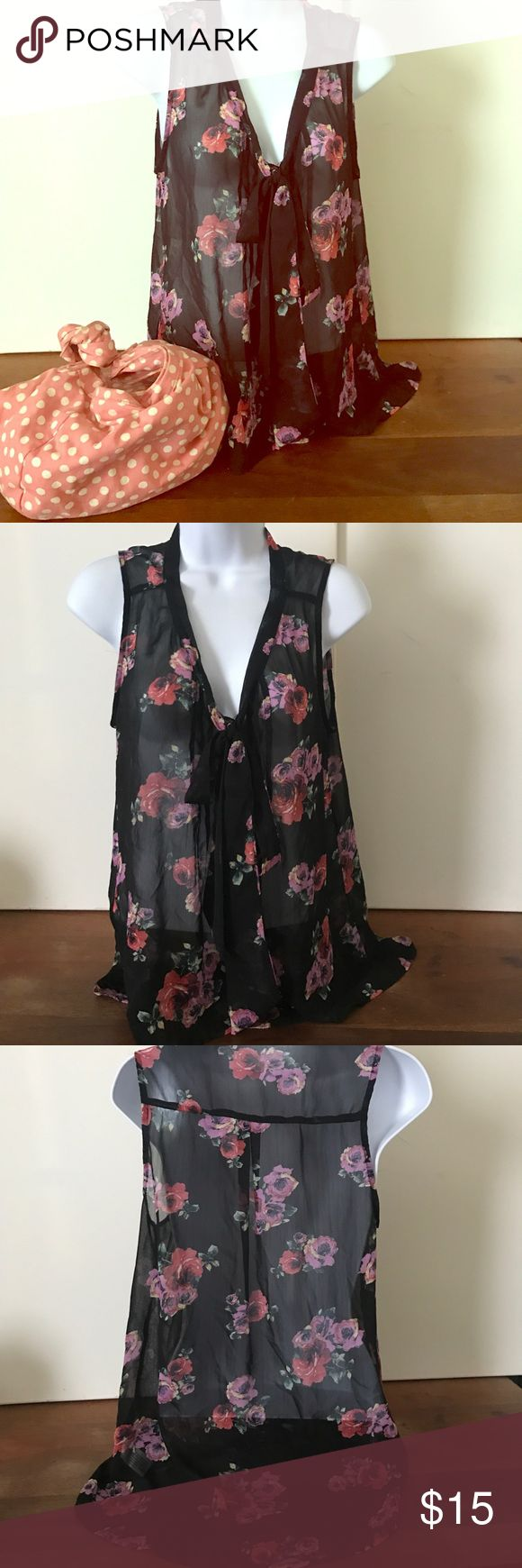 BLACK SHEER TANK TOP WITH COLORED ROSES Beautiful sheer top with red, yellow, and pink roses 🌹 . Great condition, just in time for summer, maybe for next spring to! Button up with a two straps of fabric to tie into a bow or let them hang if you like at the v-neck. The pink polka-dot purse is also for sale on my page! They make a great pair! Tops Blouses