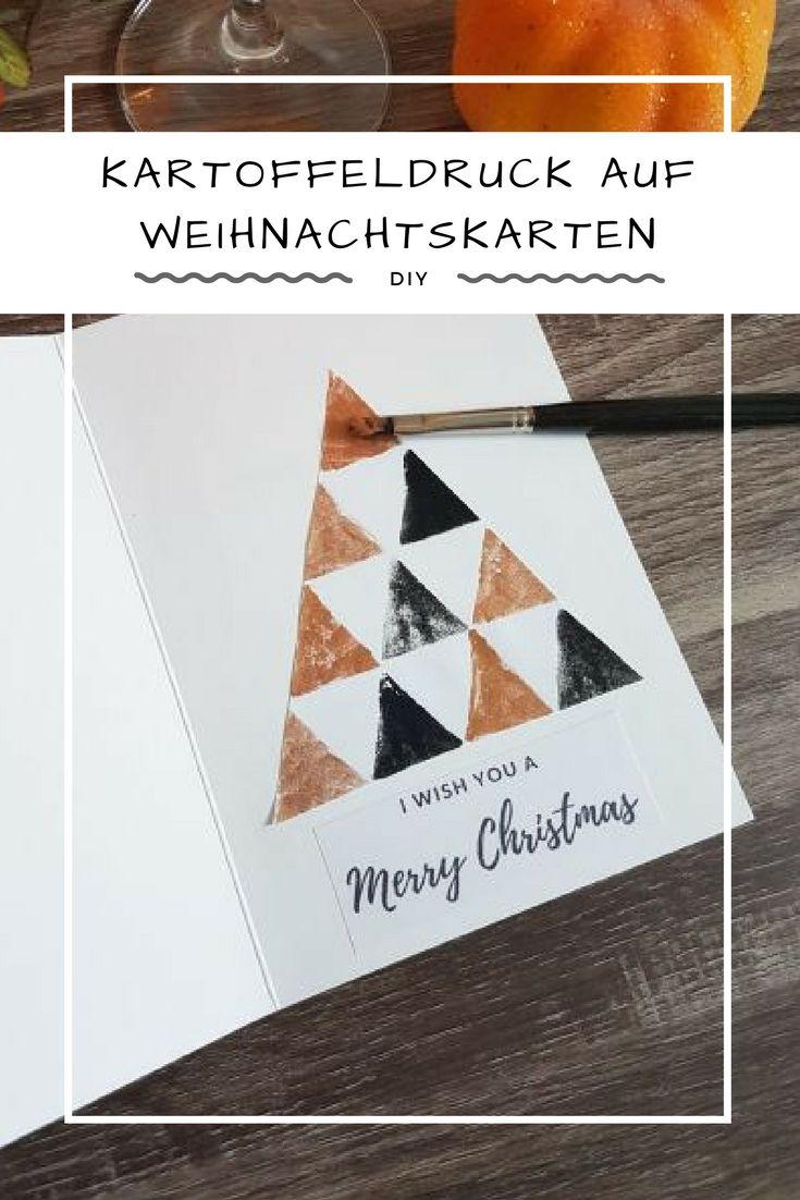Weihnachten steht vor der Tür und wir fangen jetzt schon an Weihnachtsgeschenke zu basteln. Ich zeige euch ein DIY für Kartoffeldruck auf Weihnachtskarten. Tolle Weihnachtsbäume, die jede Karte aufwerten.