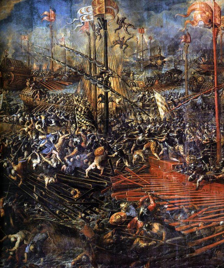 VICENTINO, Andrea Italian painter, Venetian school (b. ca. 1542, Vicenza, d. ca. 1617, Venezia) Battle of Lepanto (detail) 1603 Oil on canvas Palazzo Ducale, Venice