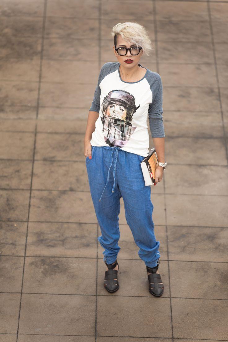 Streetstyle - Kultprit Top - Denim Jogger Pants - Clear Giant Vintage Sunglasses - Asos Gladiator Sandals
