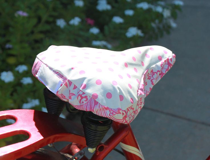 Bicycle Seat Cover- Saddle Cover- Waterproof oilcloth- Pink Dot and lacy Damask by KatieKoutureKruisers on Etsy https://www.etsy.com/listing/546047870/bicycle-seat-cover-saddle-cover