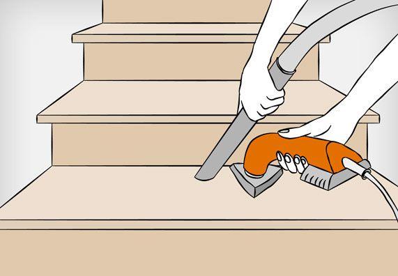 Treppenreparatur: Feinschliff an den Holztreppenkanten mit einem Deltaschleifer und Staubsauger.
