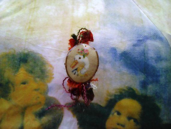 romantic duck lady hair clip/ handmade hair clip/ by Mpoulitsa