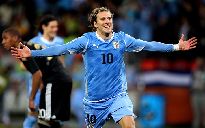 Download wallpapers Diego Forlan, 4k, Uruguayan National Team, match, soccer, footballers