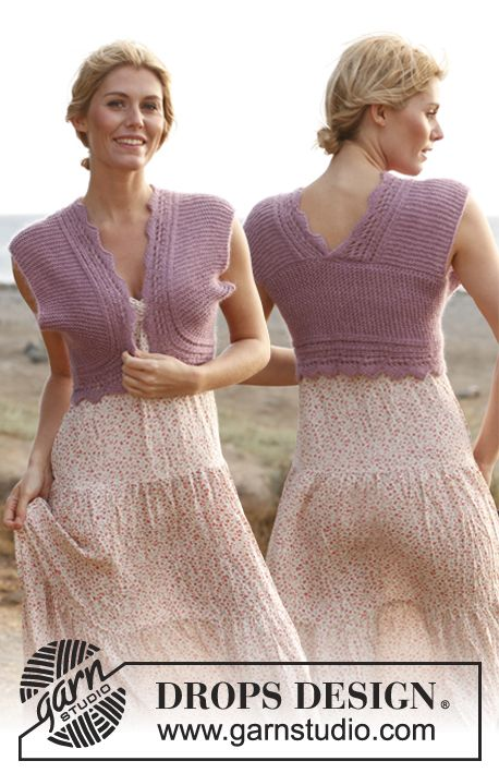 """Belinda - Knitted DROPS bolero in garter st and with lace pattern """"BabyAlpaca Silk"""" and """"Kid-Silk"""". - Free pattern by DROPS Design"""