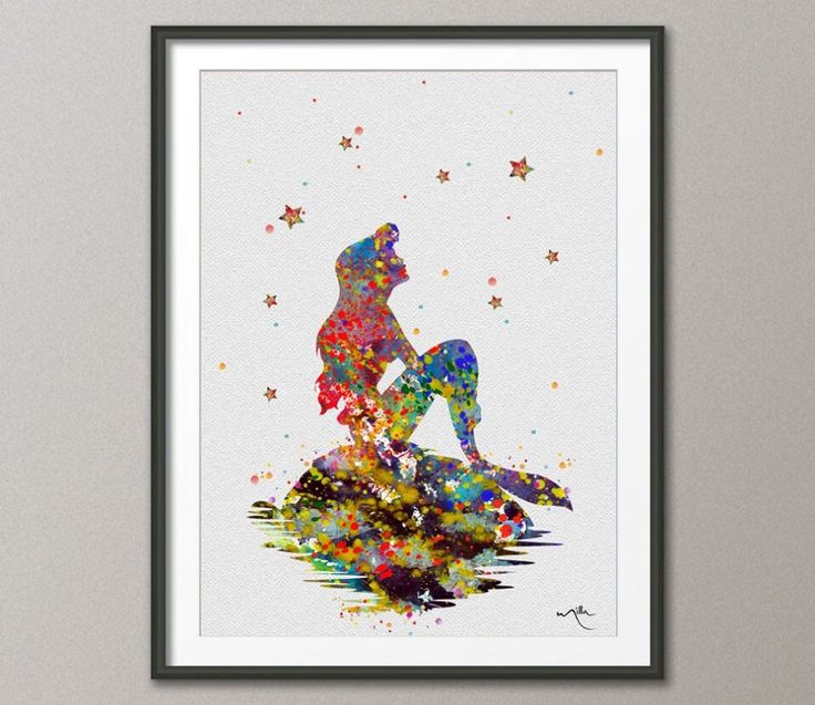 Mermaid Gifts Mermaid Decor Mermaid Art Print Mother S: The Little Mermaid Inspired Ariel On The Rock Watercolor