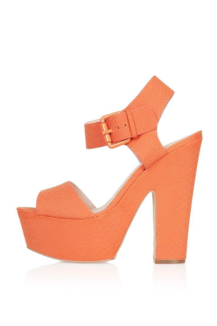 Orange Chunky Heels