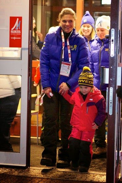 Swedish Crown Princess Victoria and Princess Estelle attend the opening of the FIS Nordic World Ski Championships on 19.02.2015 in Falun, Sweden
