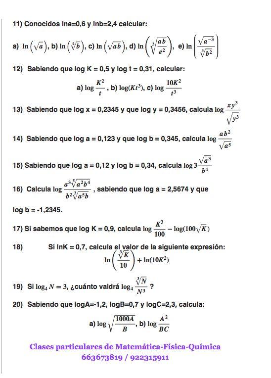 Ejercicios de logaritmos tipo examen 1º Bachiller, parte 2