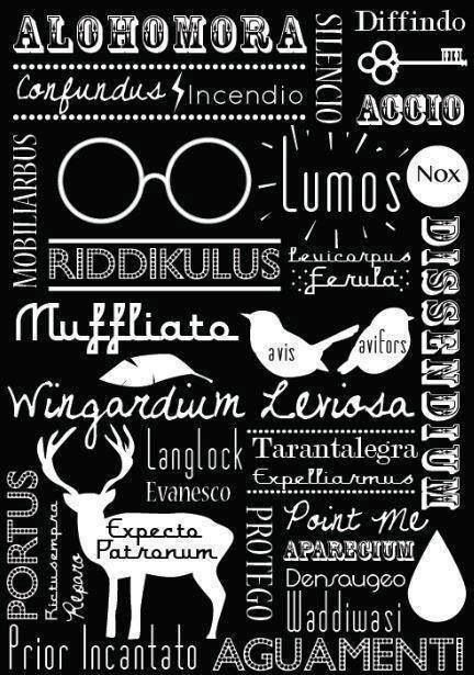 Harry Potter Spells! This could be another great poster/quote thingy! (just an idea @Samantha Burns ) Mais