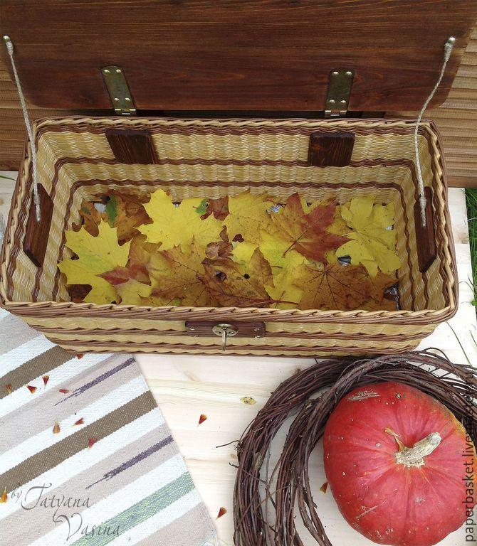 """Купить Плетеный короб-сундук """"Теплая осень"""" - коричневый, плетеный короб, плетеный сундук, сундук, paper basket, weaving"""