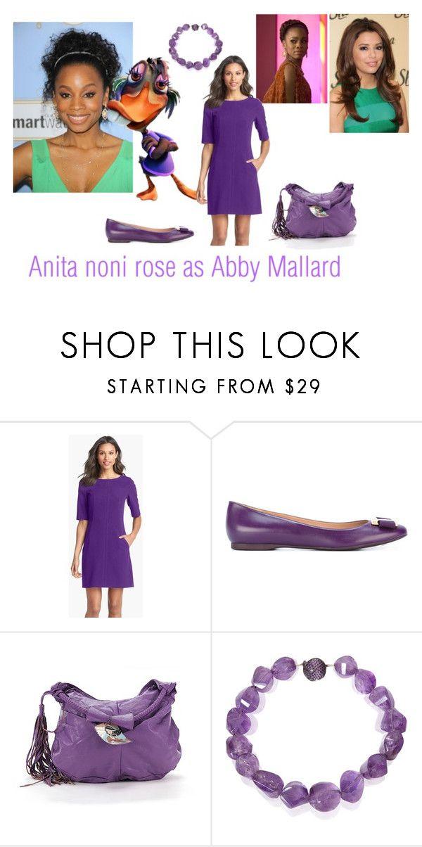 """Disney dreamcast: Anita noni rose as Abby Mallard!"" by sarah-m-smith ❤ liked on Polyvore featuring Tahari, Salvatore Ferragamo, MMS Design Studio and Mara Hotung"