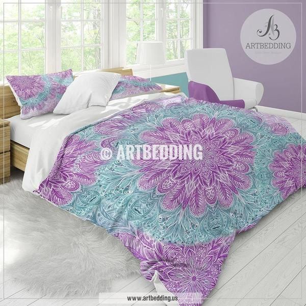 Boho mandala bedding, Purple and light teal Watercolor Mandala duvet cover set, Handdrawn ethno Indie art duvet cover set, Boho mandala comforter set, bohemian bedroom
