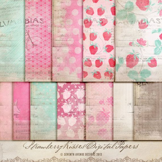 Digital Papers  Strawberry Kisses Perfect for by 7thavenuedesigns, $8.00