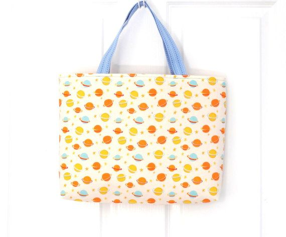 Spaceship and Planets Yellow Carry All Tote Bag
