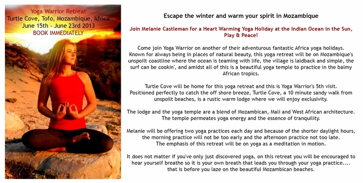 Join Melanie Castleman for a Heart Warming Yoga Holiday at the Indian Ocean in the Sun, Play & Peace!  http://www.yogawarrior.co.za/