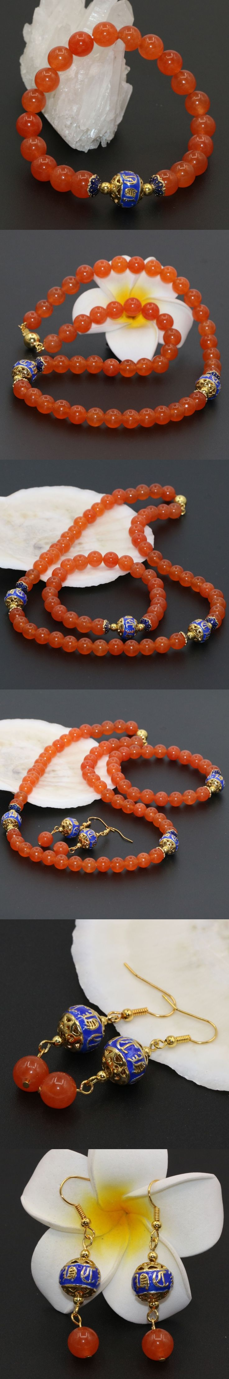 Classical design fashion 8mm orange stone chalcedony round beads necklaces bracelet earrings sets for women charms jewelry B2679