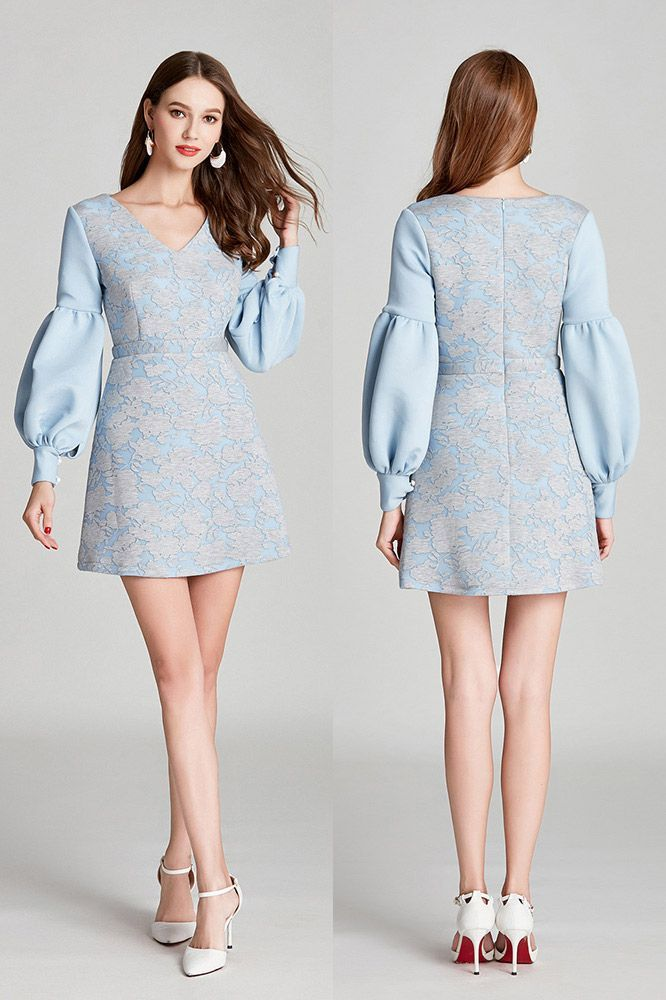 Short Blue Lace Cotton V Neck Prom Dress With Long Bubble ...