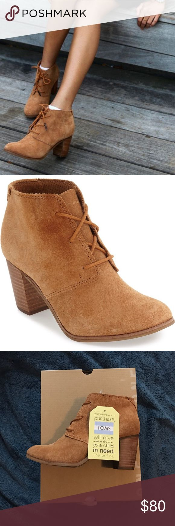TOMS Lunata Lace Up Booties Brand new with tags! Super cute and they're a good neutral color that goes with anything! I'm always open to reasonable offers! TOMS Shoes Ankle Boots & Booties