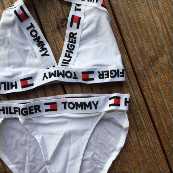 reworked tommy hilfiger cross over logo bikini set white size small 43 liked on polyvore. Black Bedroom Furniture Sets. Home Design Ideas