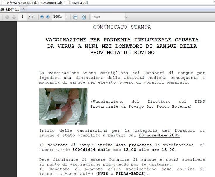 L'avis, la donazione del sangue e la vaccinazione contro l'influenza suina
