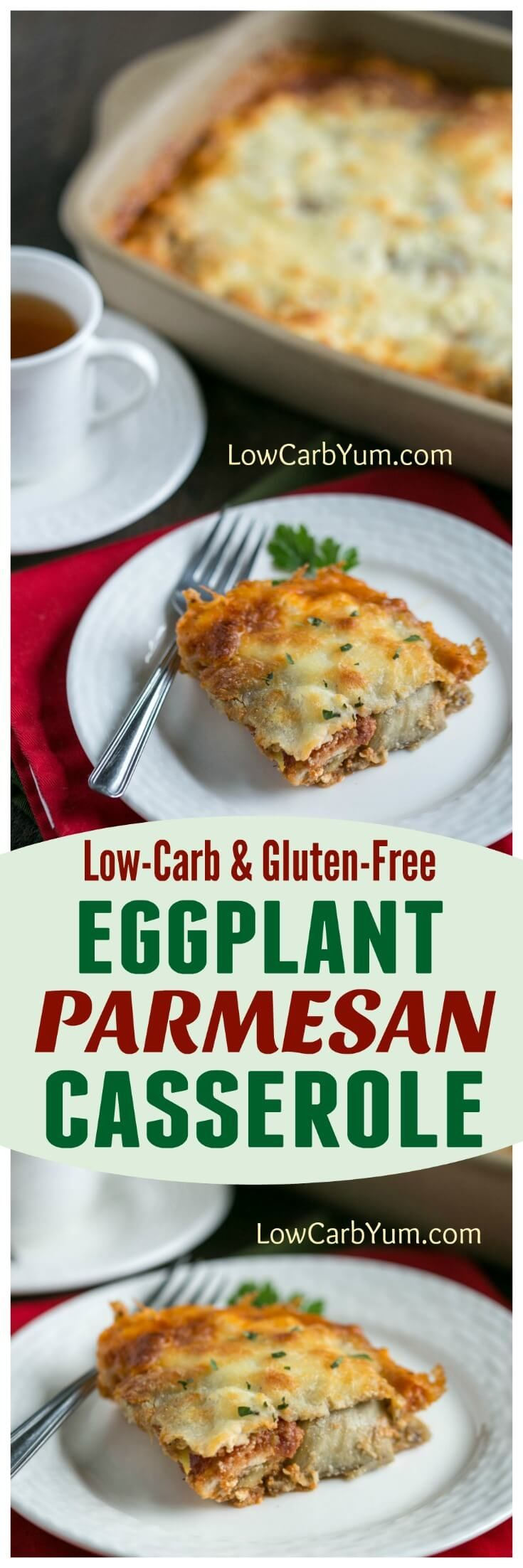 A delicious low carb eggplant Parmesan casserole made with a gluten free breading. It's loaded with cheese and full of authentic Italian flavor! | LowCarbYum.com