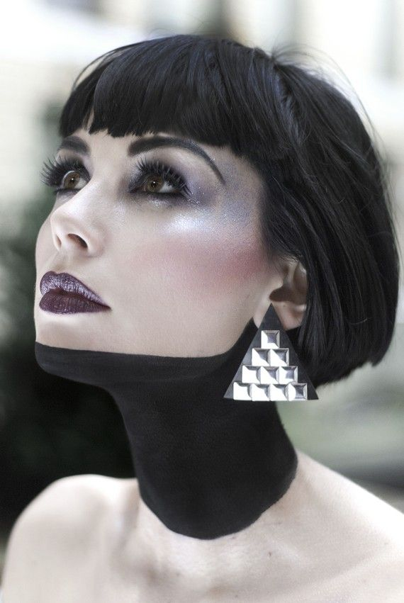studded triangle earrings