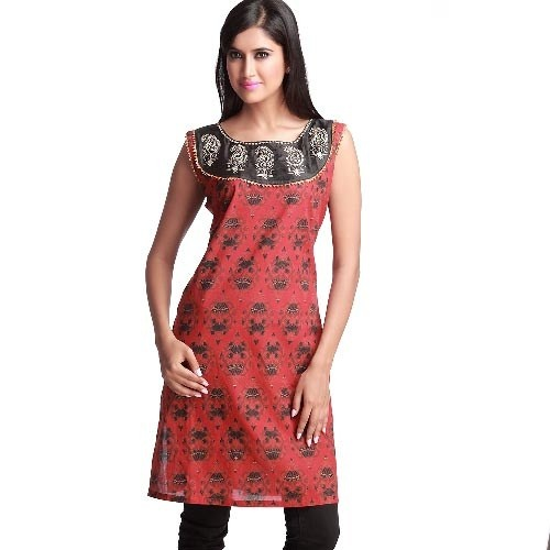 Smashing Red Block Print Kurta with Pitta Work - 10030LLK1014 -  Rs. 985 - Ships: Within 5-6 Business Days #Kurta