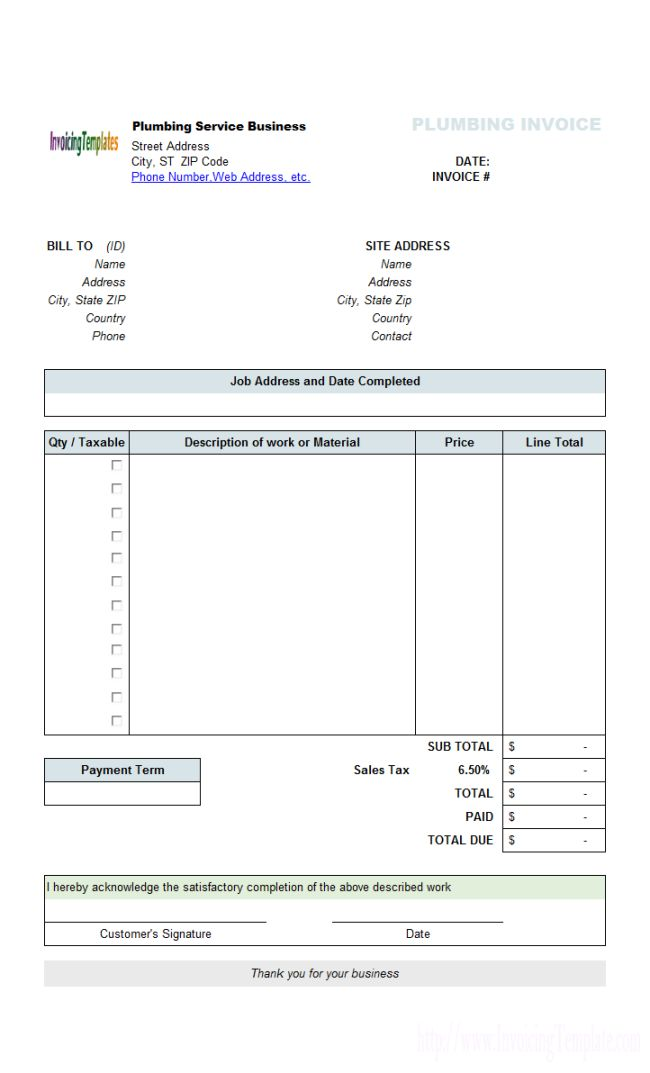 Perfect Sample of Plumbing Service Billing Invoice Form Template with Company Logo and Bill To Information also Table Description - an image part of Nice Sample of Editable Blank Invoice Template with Sold To Space and Table for Item Descriptions