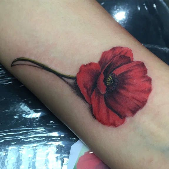 Poppy tattoos with a resting bird tattooed endearingly on upper arm. Description from gettattoosideas.com. I searched for this on bing.com/images