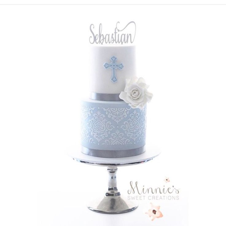 Boy Baptism Cake - Not sure I would do the intricate detail on the bottom, but I love the name topper, the single rose, the detailed cross and the colors. Perhaps simple polka dots on the bottom?
