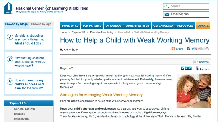 How to Help a Child with Weak Working Memory  By Annie Stuart