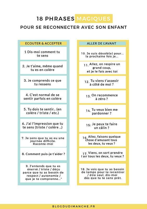 """Si vous chercher à renouer le dialogue avec votre enfant, ces phrases """"magiques"""" pourraient vous y aider <3"""