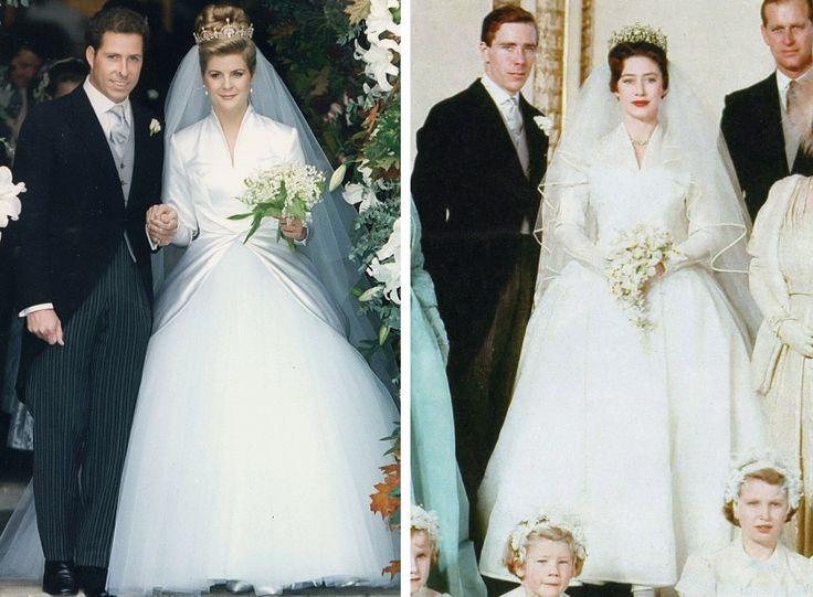 royalroaster:  Weddings of David, Viscount Linley, and Serena Stanhope, October 8, 1993, and Princess Margaret and Anthony Armstrong-Jones, May 6, 1961-Serena's dress by Samantha Shaw is an adaption of Margaret's original dress, designed by Tony and created by Norman Hartnell