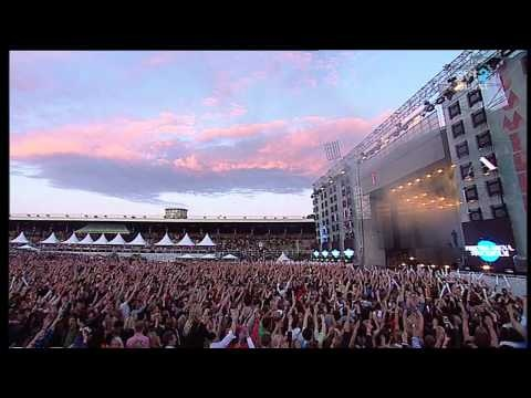 SHM, short of Steve Angello, at Summerburst in Stockholm mid July 2012.  This is sent live in national swedish television and the ultimate breakthrough for house music in sweden.  Axwell is also announcing their to-be last show in Friends Arena in November.  Just look at the kids go!