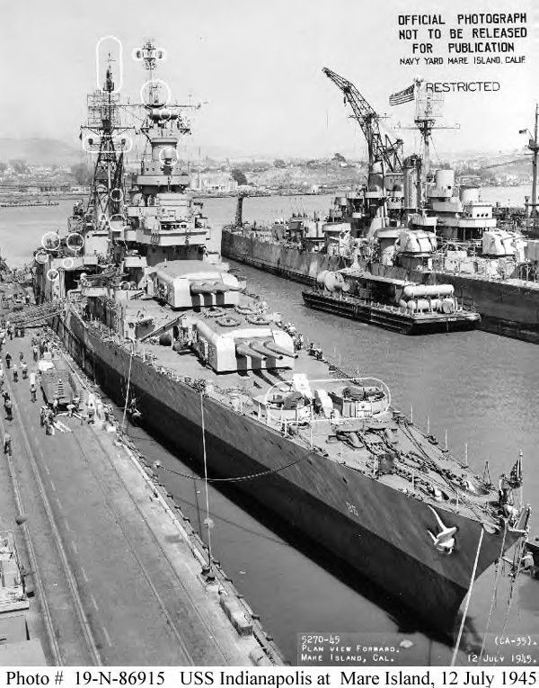 USS Indianapolis at Mare Island, just prior to her fateful trip, July 12, 1945. What are those things that are circled?