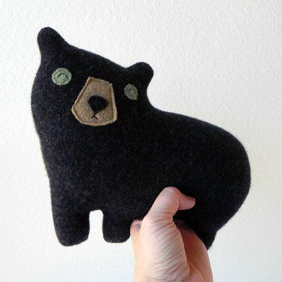 the black Bear  small wool plush pillow by ThreeBadSeeds on Etsy, $44.00
