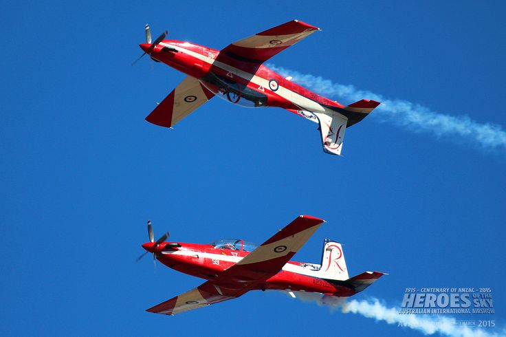Pilatus PC-9 trainers of the Royal Australian Air Force display team The Roulettes perform at Australian International Air Show 2013.